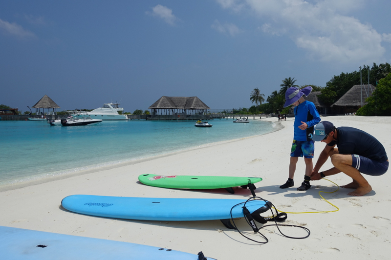 Getting Ready for Our First Surfing Lesson, Kuda Huraa