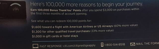 100K Citi Prestige Signup Bonus Offer
