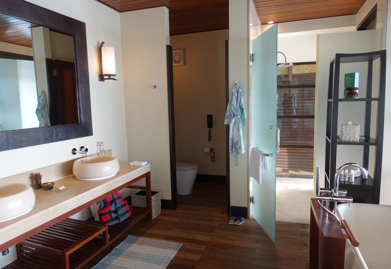 Sunset Water Bungalow Bathroom, Four Seasons Maldives at Kuda Huraa