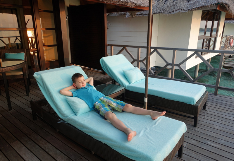 Enjoying the View from our Sunset Water Bungalow, Four Seasons Maldives at Kuda Huraa