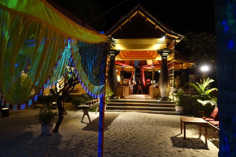 Entrance to Baraabaru for Indian Buffet Night, Four Seasons Maldives at Kuda Huraa