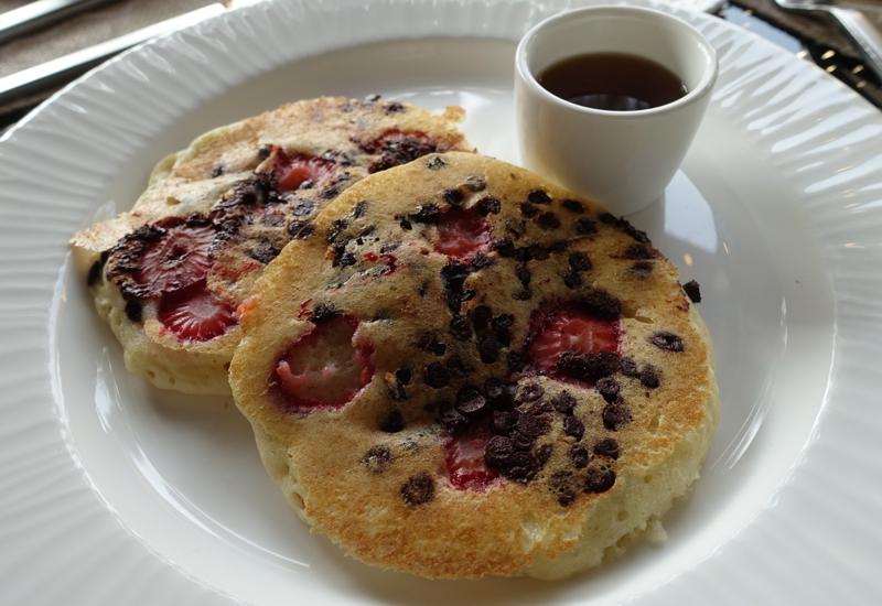 Strawberry Chocolate Chip Pancakes for Breakfast, Four Seasons Maldives at Kuda Huraa