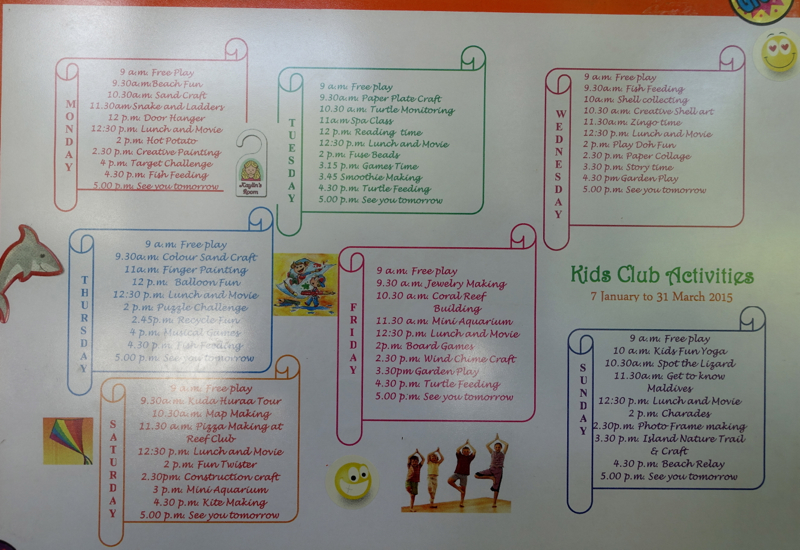 Kuda Velaa Kids Club Calendar, Four Seasons Maldives at Kuda Huraa