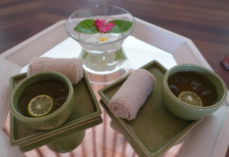 Refreshing Towel and Lemongrass Iced Tea, Island Spa at Kuda Huraa