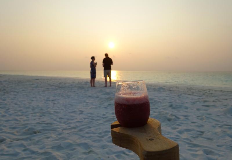Enjoying the Sunset Over Cocktails, Soneva Fushi