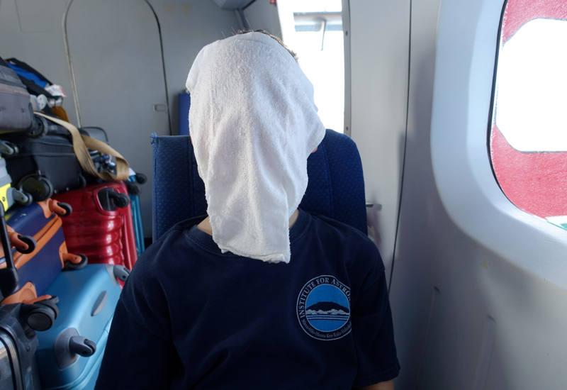Cooling Down with a Four Seasons Towel on a Trans Maldivian Seaplane