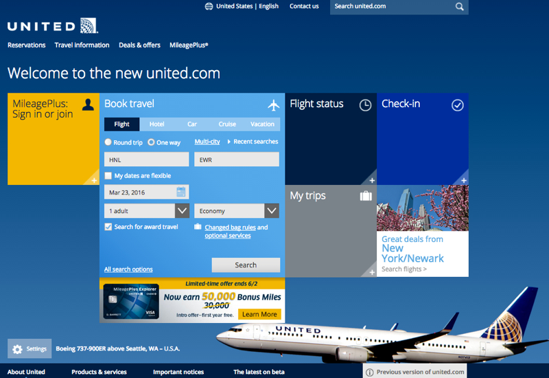 New United Site: No More Nonstop Only Saver Award Search