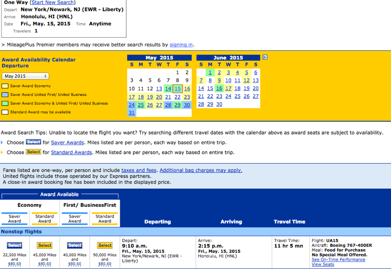 Current United Site Shows Saver Awards for Nonstop Flights