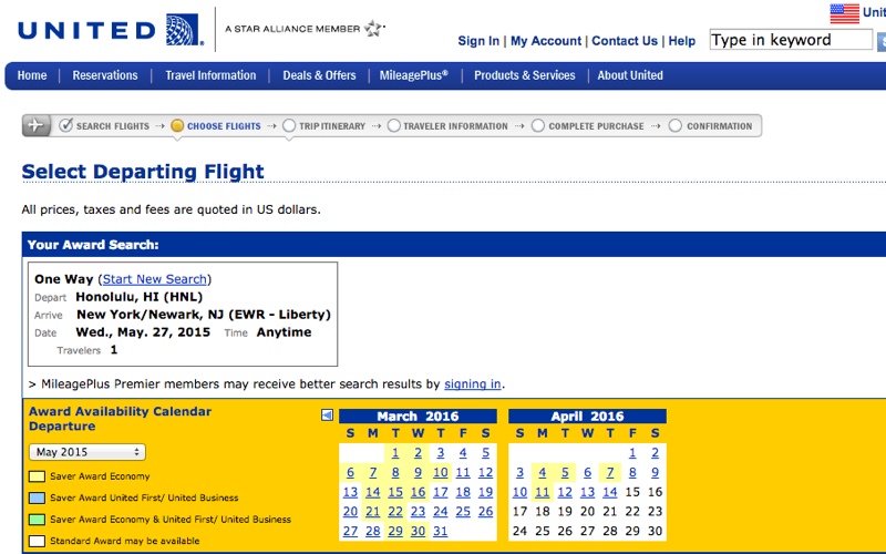 Current United Site Award Calendar Shows No Nonstop First Class Saver Award Space