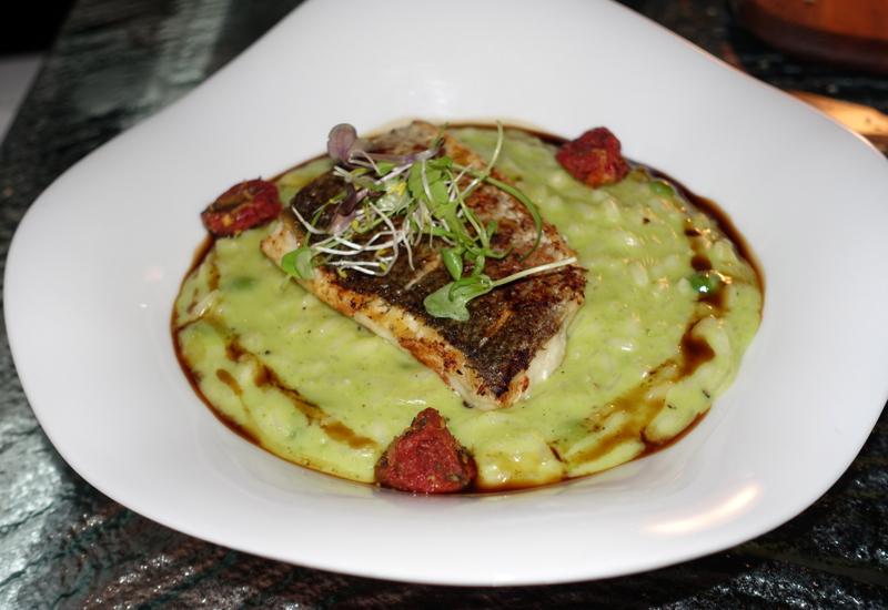 Pea and Fava Bean Risotto with Roast Seabass, Vilu Restaurant, Conrad Maldives