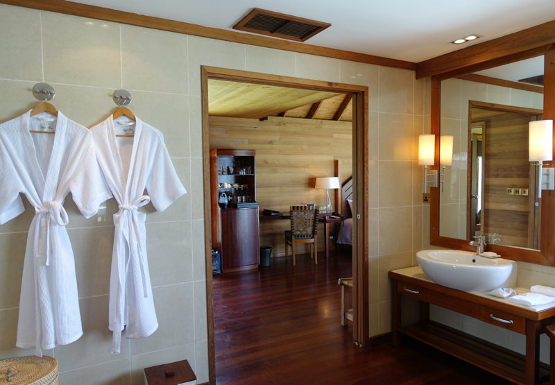 Superior Water Villa Bathroom and Bathrobes, Conrad Maldives