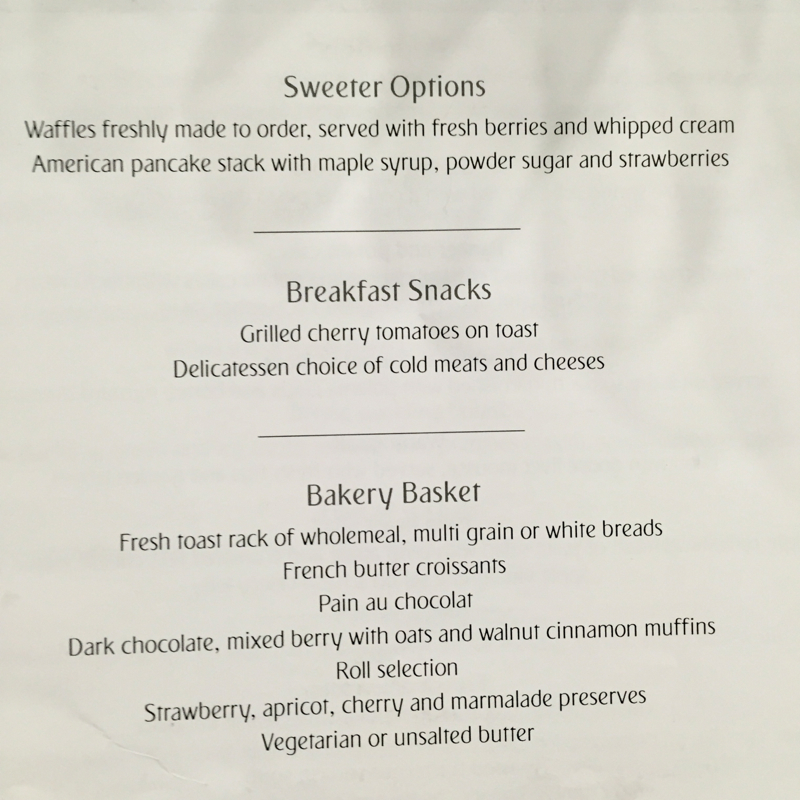 Emirates First Class Lounge Dubai Menu
