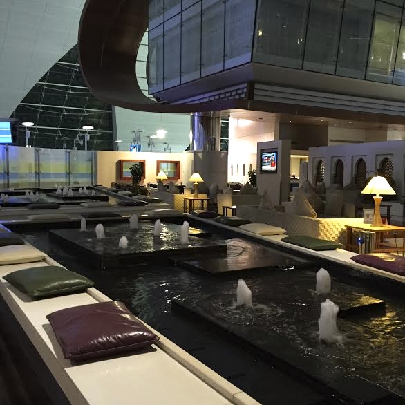 Emirates First Class Lounge Dubai Review-Seating by Fountain