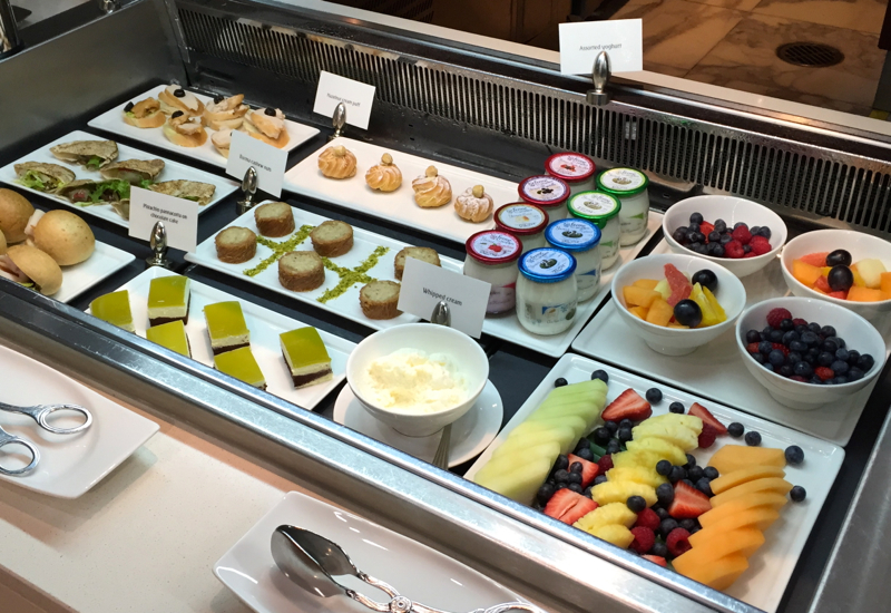 Yogurt, Fruit and Desserts at the Emirates First Class Lounge, Dubai