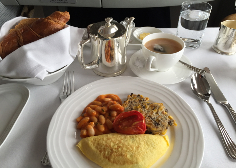 Emirates A380 First Class Review-Breakfast
