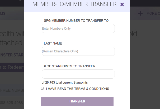 Transfer Starpoints Between SPG Accounts