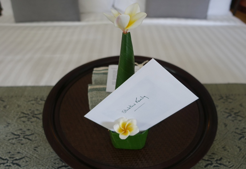 Welcome Note and Gift, Amantaka, Luang Prabang