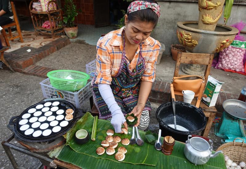 Making Khao Nom Kok (Lao Coconut Cakes), Luang Prabang