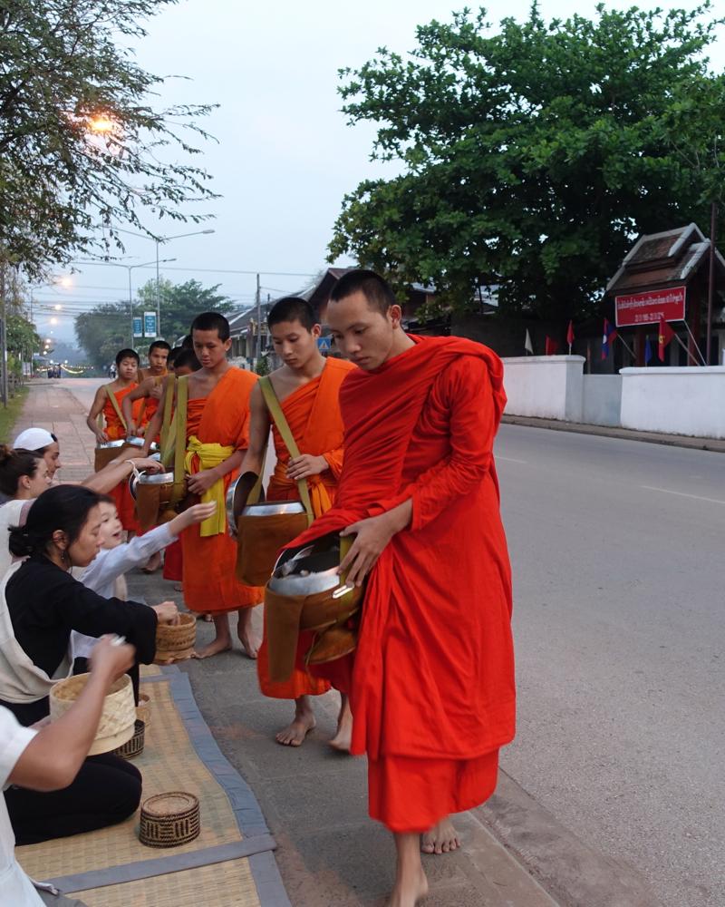 Tak Bat (Alms Offering to the Monks) Outside Amantaka, Luang Prabang