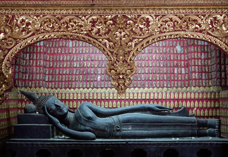 Reclining Buddha Inside the Red Chapel, Luang Prabang