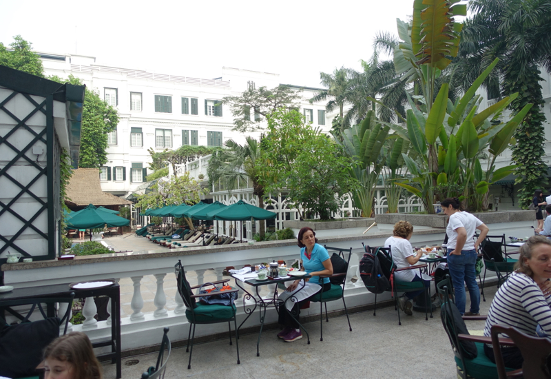 Sofitel Legend Metropole Hanoi Review-Terrace Seating for Breakfast