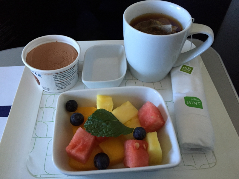 JetBlue Mint Dessert: Blue Marble Ice Cream and Fruit Salad