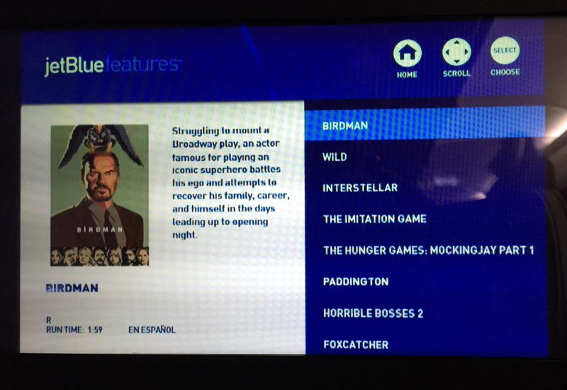 JetBlue Mint Review-IFE Movie Selections