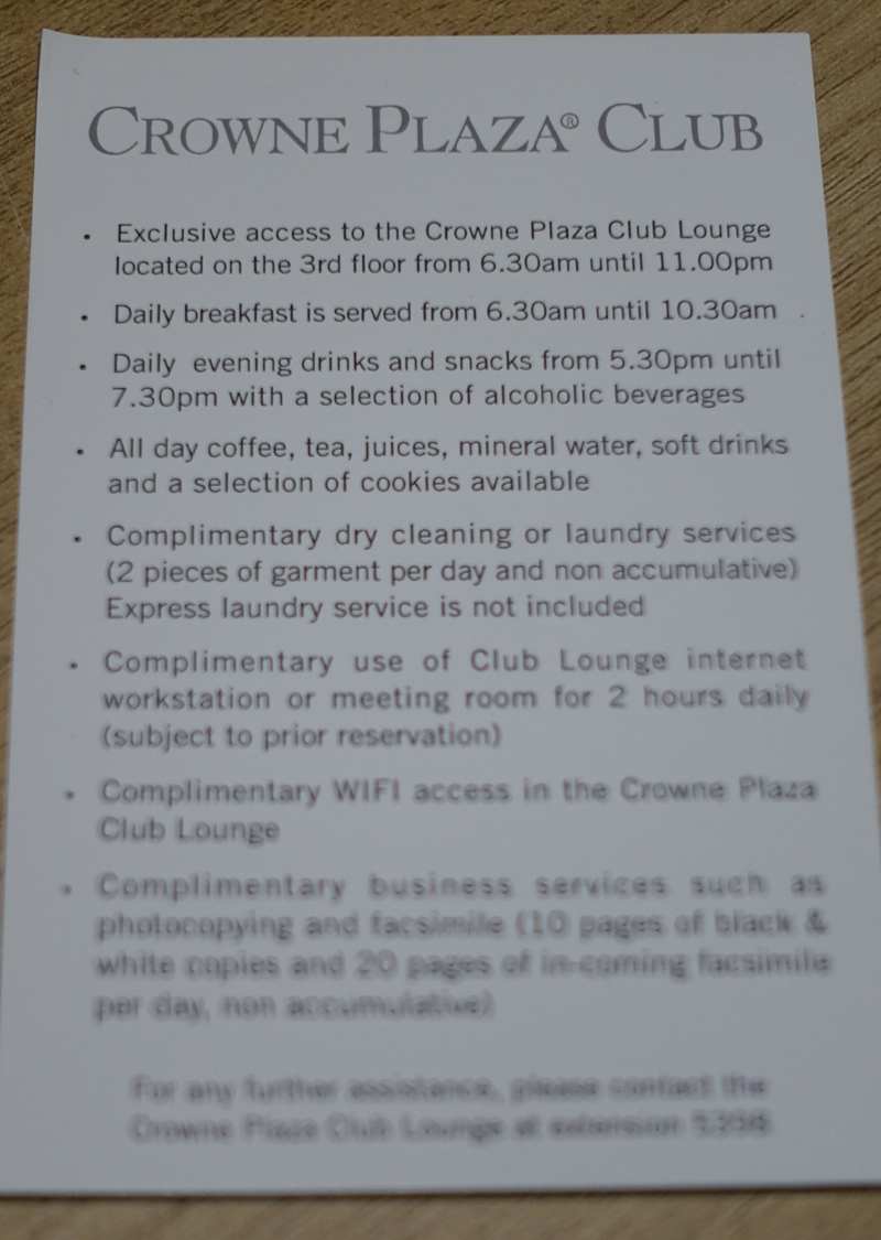 Crowne Plaza Singapore Airport Club Lounge Amenities