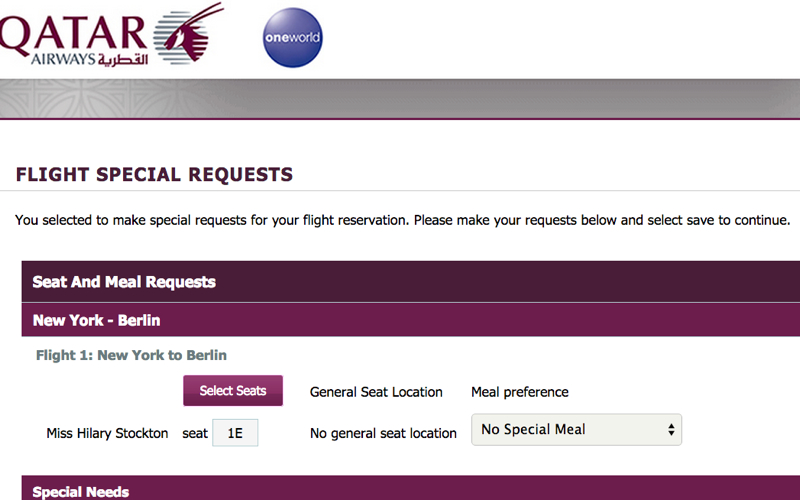 Qatar Airways Manage a Booking: Select Seats