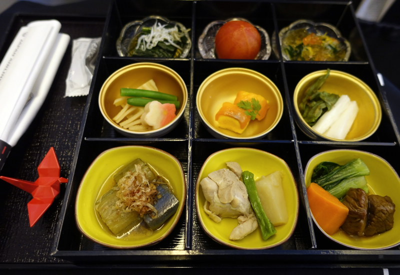 Japanese Lunch Appetizers, JAL Business Class 767-300ER Review