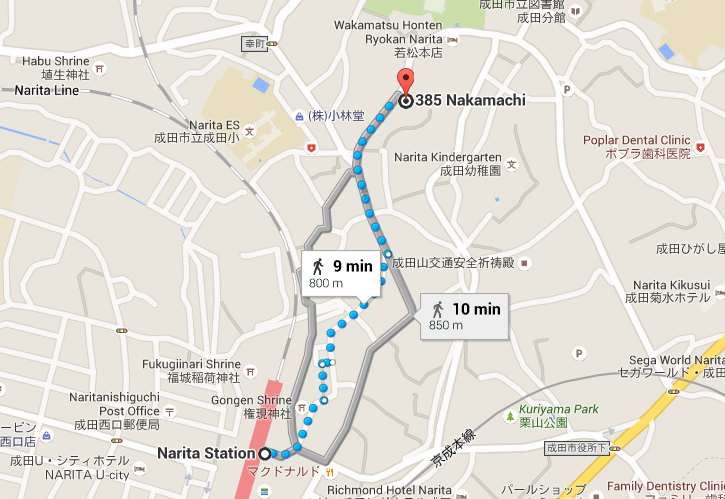 Map of How to Get to Kikuya from Narita Station