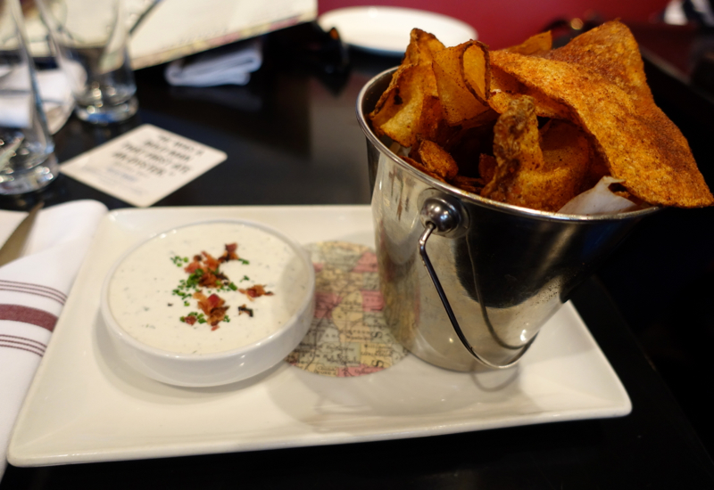 BBQ Potato Chips with Blue Cheese Dip, Blue Smoke NYC Review