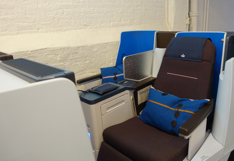 KLM New Business Class Seats in Brown with Blue Accents