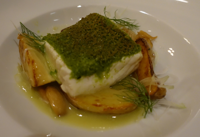 Alaskan Halibut with Herb Crust and Green Olive Fennel Emulsion, Allium Four Seasons Chicago Review
