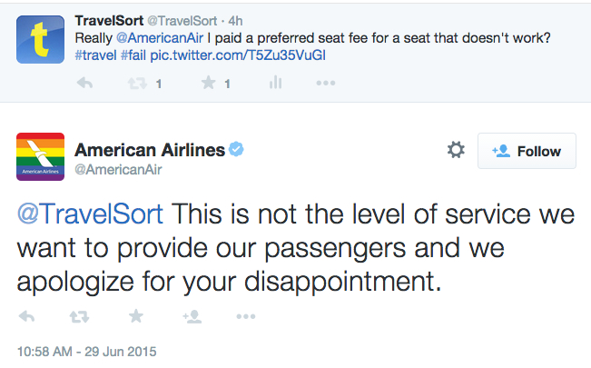 American Airlines Twitter: Sorry for Your Seat, But No Mention of Fee Refund