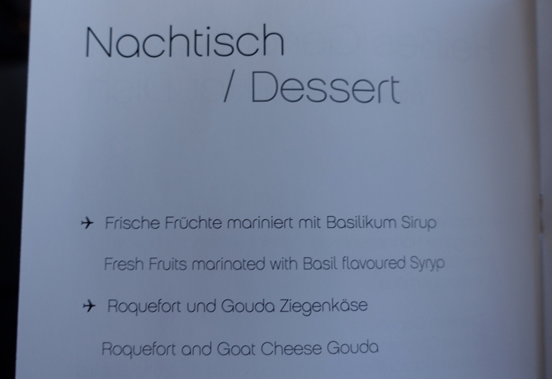Air Berlin Business Class Dessert Menu