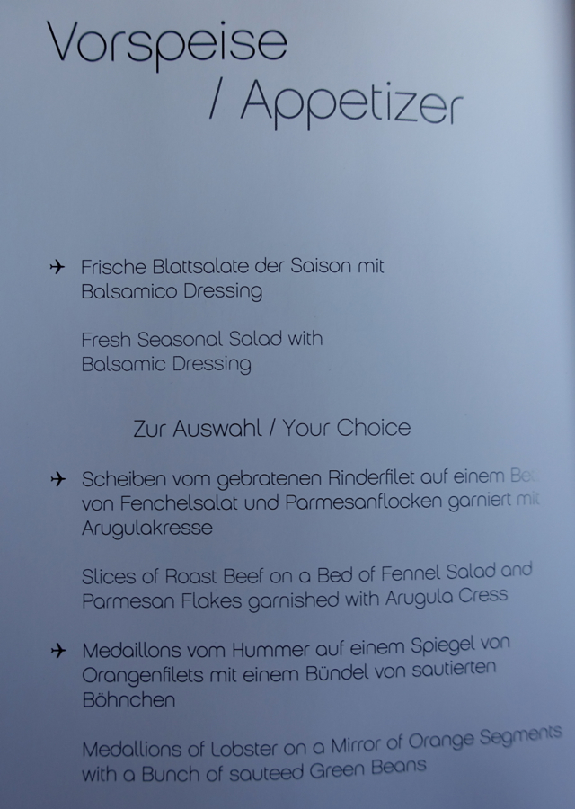 Air Berlin Business Class Dinner Menu-Appetizers