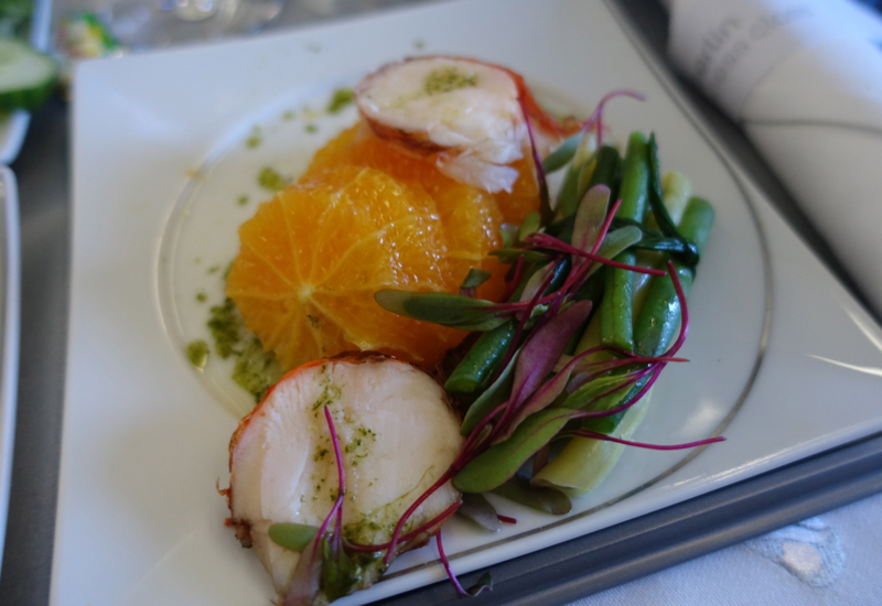 Lobster Medallions with Oranges and Green Beans, Air Berlin Business Class