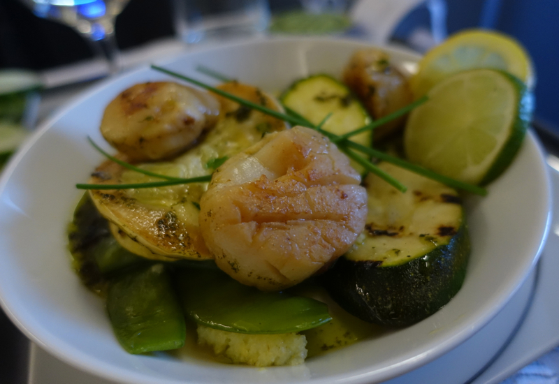 Dinner: Fried Scallops and Polenta, Air Berlin Business Class Review