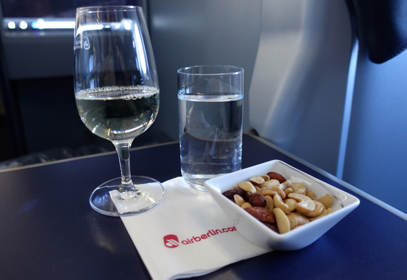Air Berlin Business Class Review-White Wine and Mixed Nuts