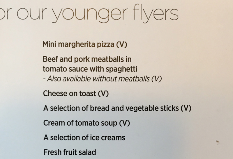 Virgin Atlantic Clubhouse NYC JFK Kids' Menu