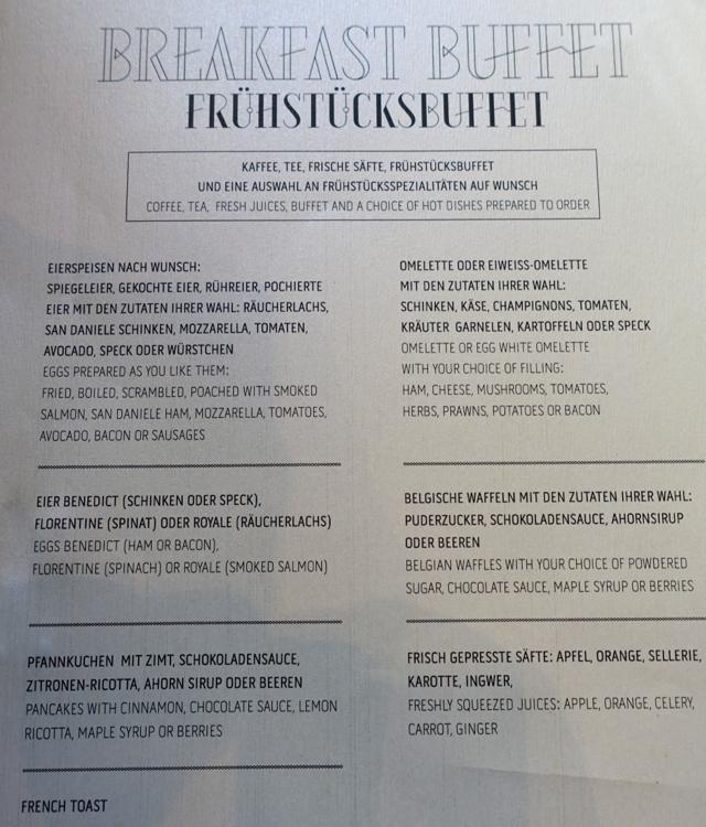 Breakfast Menu, Rocco Forte Hotel de Rome, Berlin