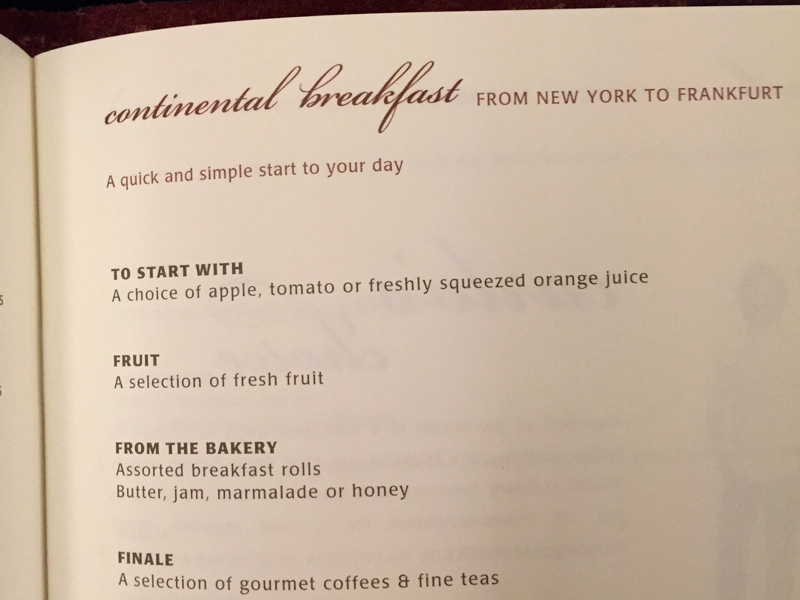 Singapore Suites Breakfast Menu, NYC JFK to Frankfurt