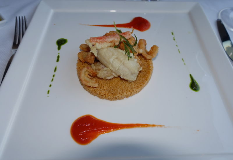 Cous Cous with Pesto and Red Mullet and Squid Tempura, Monastero Santa Rosa