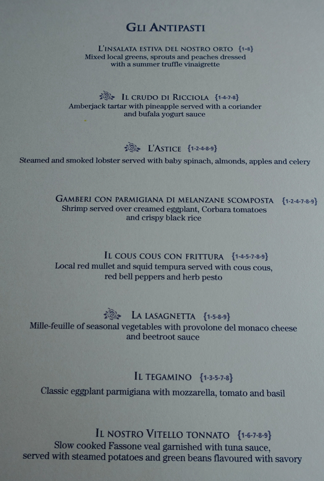 Appetizer Menu at Ristorante Refetterio Monastero Santa Rosa