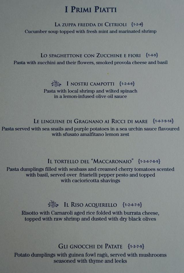 Pasta Menu-Monastero Santa Rosa Restaurant-Il Refettorio