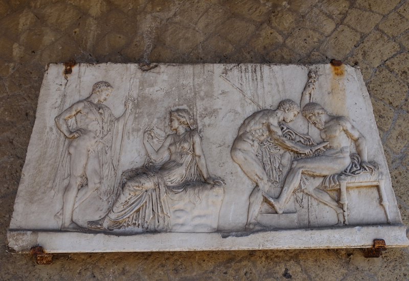 Herculaneum Sculpture-Bas-Relief of Achilles with Mother and with Telephus