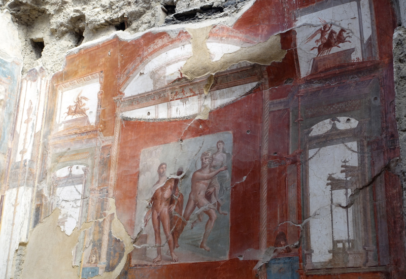 Herculaneum: Fresco from College of the Augustales-Hercules fighting Achelous who kidnapped Deianira