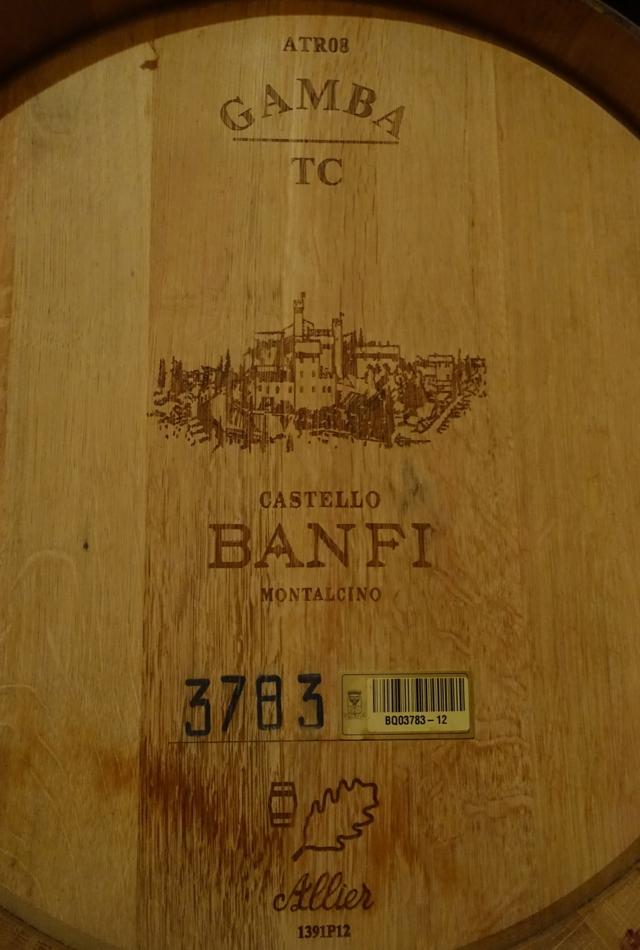 Castello Banfi Winery Tour: Oak Barrels Have Bar Codes for Tracking Wine