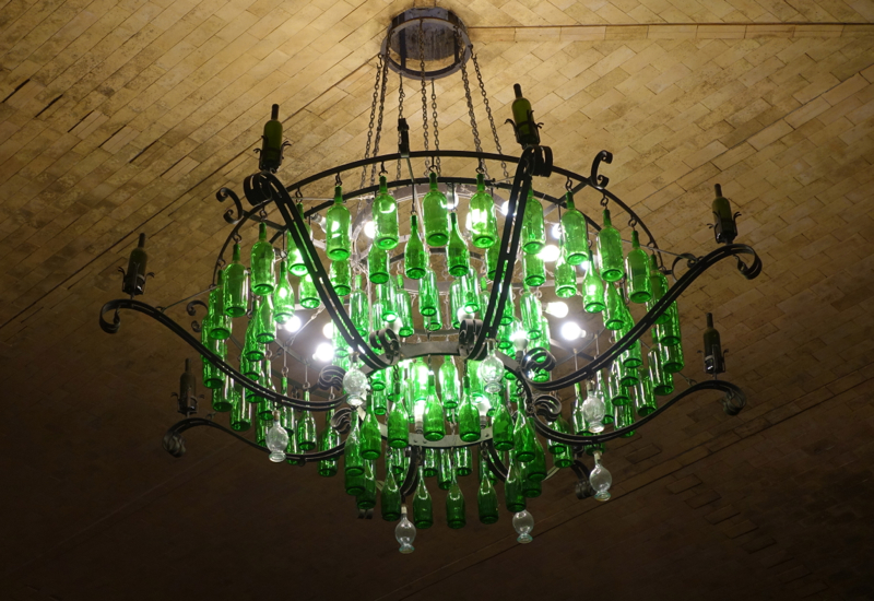 Castello Banfi Winery Tour: Wine Bottle Chandelier
